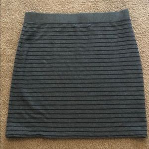 Banana Republic gray/navy stripe knit A-line skirt